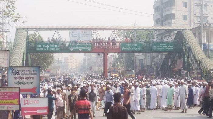 ঢাকা-সিলেট-মহাসড়ক-অবরোধ,-যান-চলাচল-বন্ধ